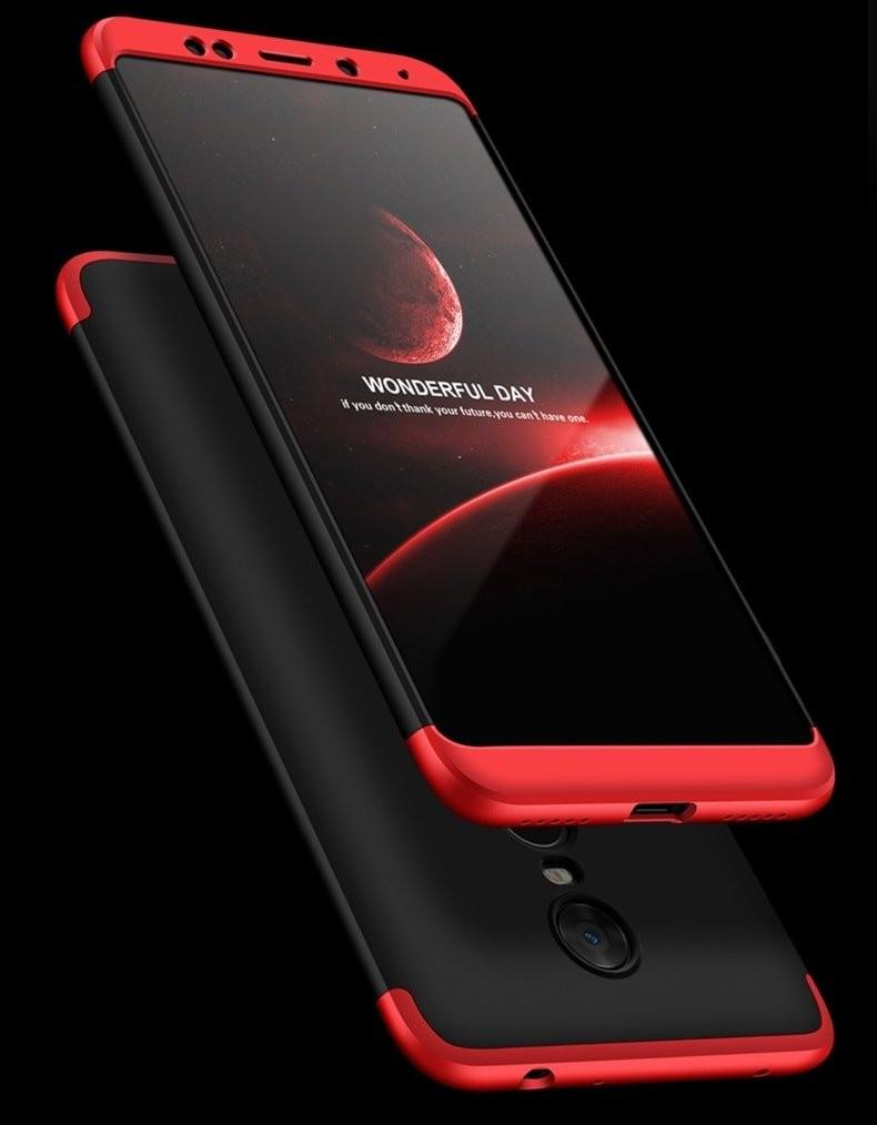 Coque 360 Redmi Note 5 Pro Noir et Rouge.