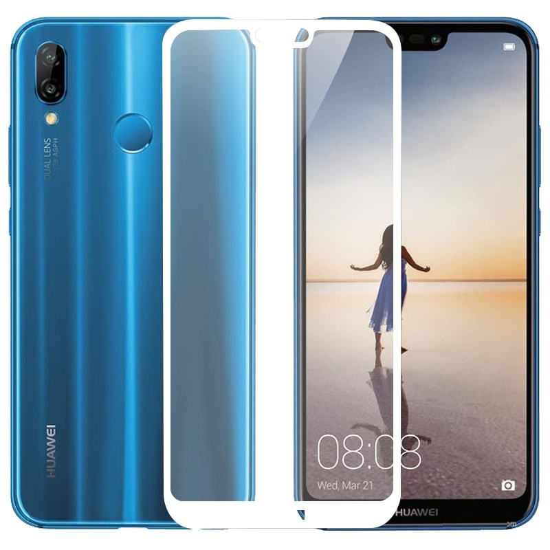 Verre trempé Huawei P20 Lite Blanc Protecteur d'écran