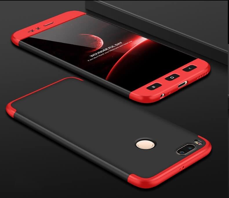 Coque 360 Xiaomi Mi A1 Noir et Rouge.