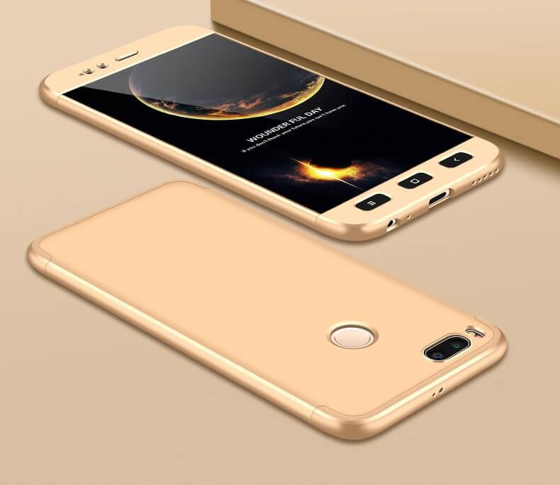 Coque 360 Xiaomi Mi A1 Dorée.