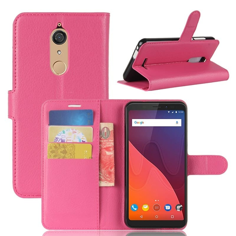 Etuis Portefeuille Wiko View Fonction Support Rose