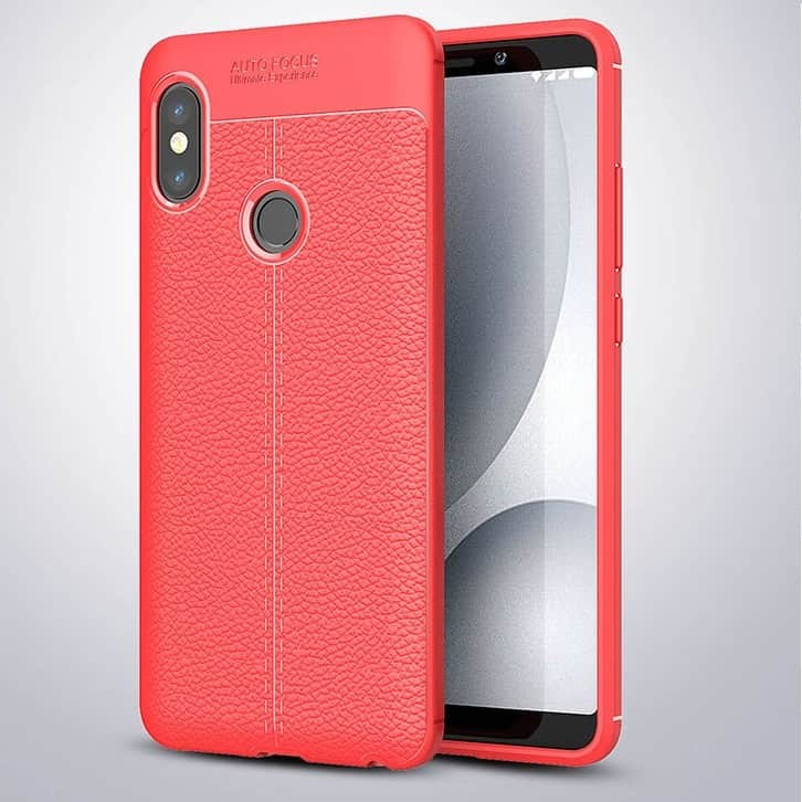 Coque Silicone Xiaomi Redmi Note 5 Pro Cuir 3D Rouge