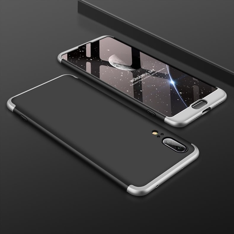 Coque 360 Huawei P20 Noir et Gris.
