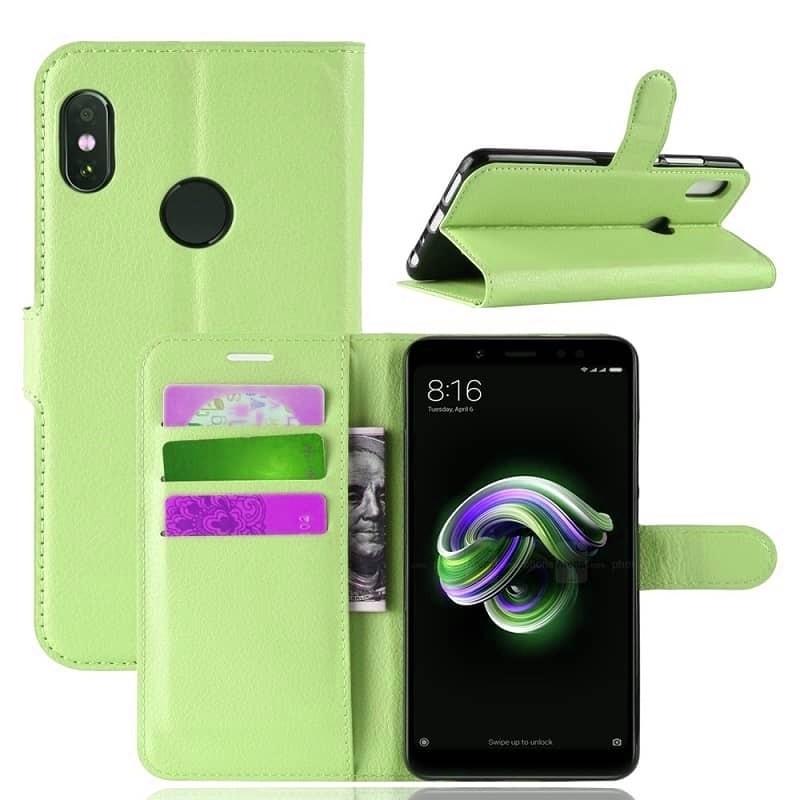 Etuis Portefeuille Xiaomi Redmi Note 5 Simili Cuir Vert