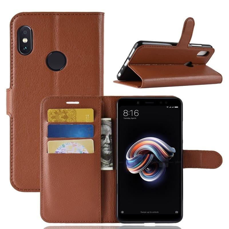 Etuis Portefeuille Xiaomi Redmi Note 5 Simili Cuir Marron