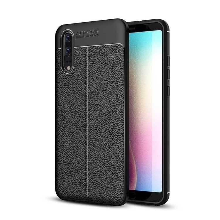 Coque Silicone Huawei P20 Cuir 3D Noir