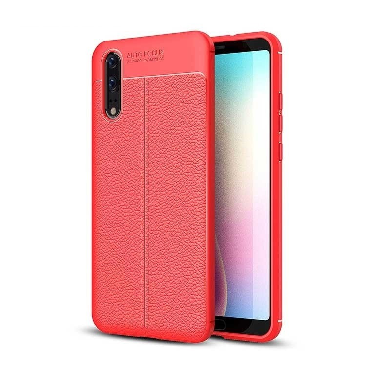 Coque Silicone Huawei P20 Cuir 3D Rouge