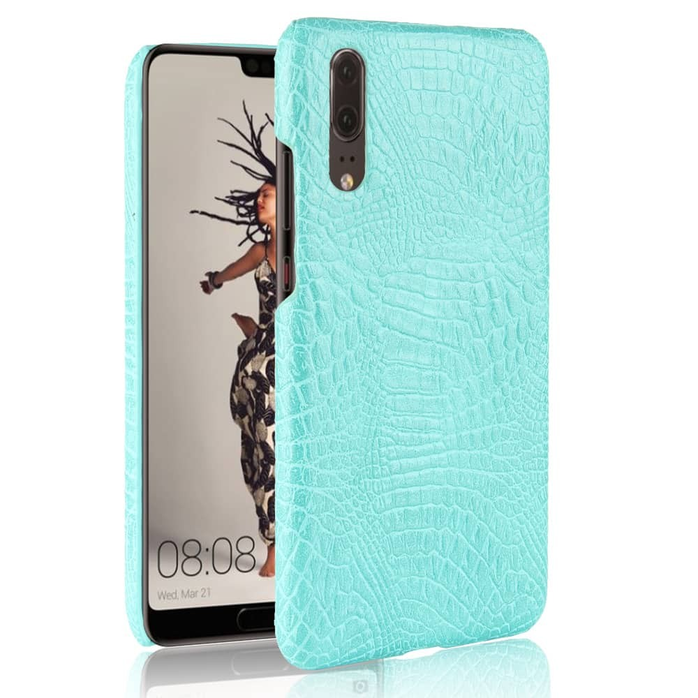 Coque Huawei P20 Cuir Croco Turquoise